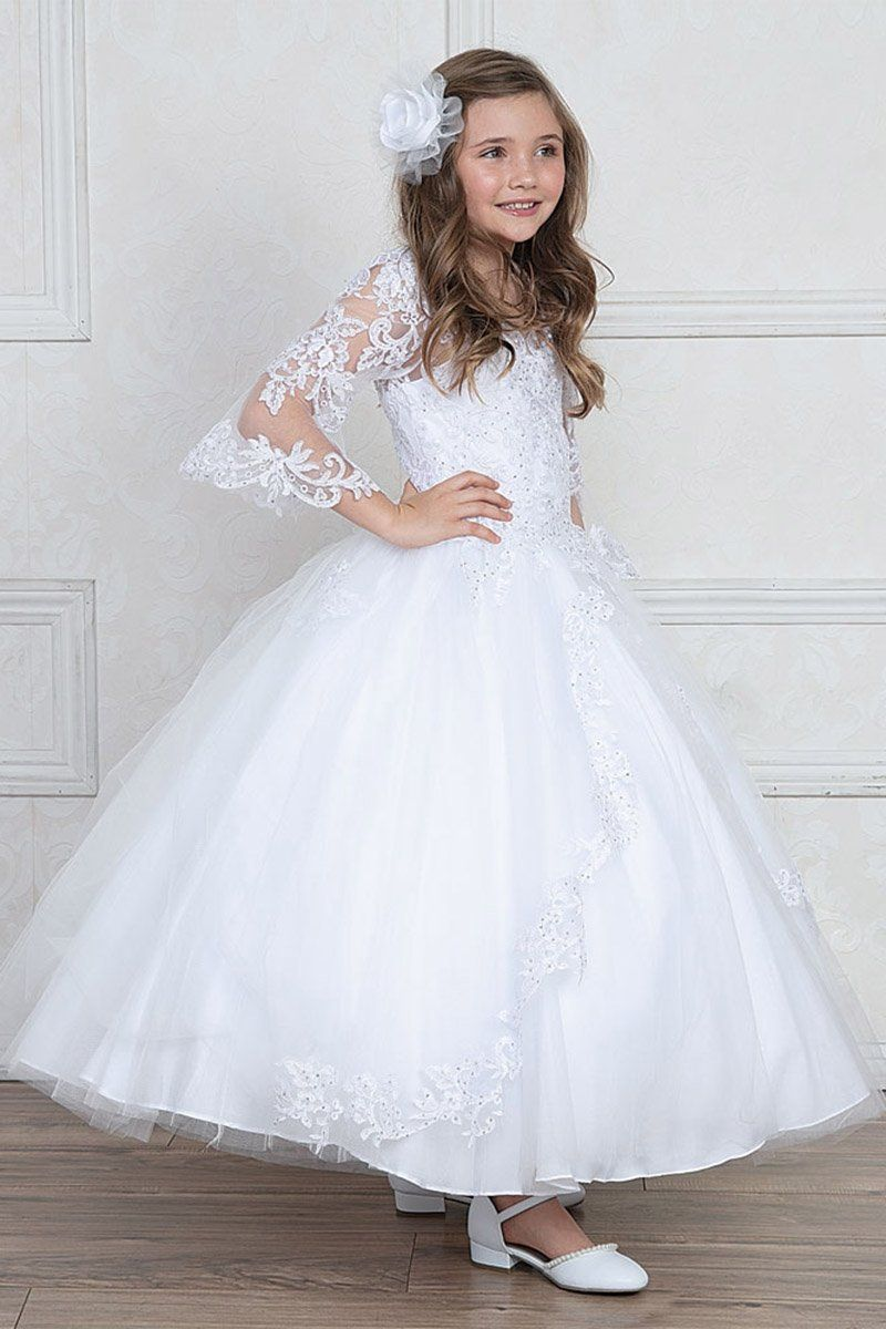 Girls First Communion Dress With Beautiful Sleeves Vestidos Para Primera Comunion Vestidos Comunion Nina Vestido Para Ninas Boda [ 1200 x 800 Pixel ]