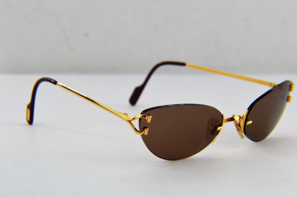 80e1ff08c0b Auth Cartier C Decor Gold Plated Brown Lens Rimless Sunglasses 135 18   Cartier  Oval
