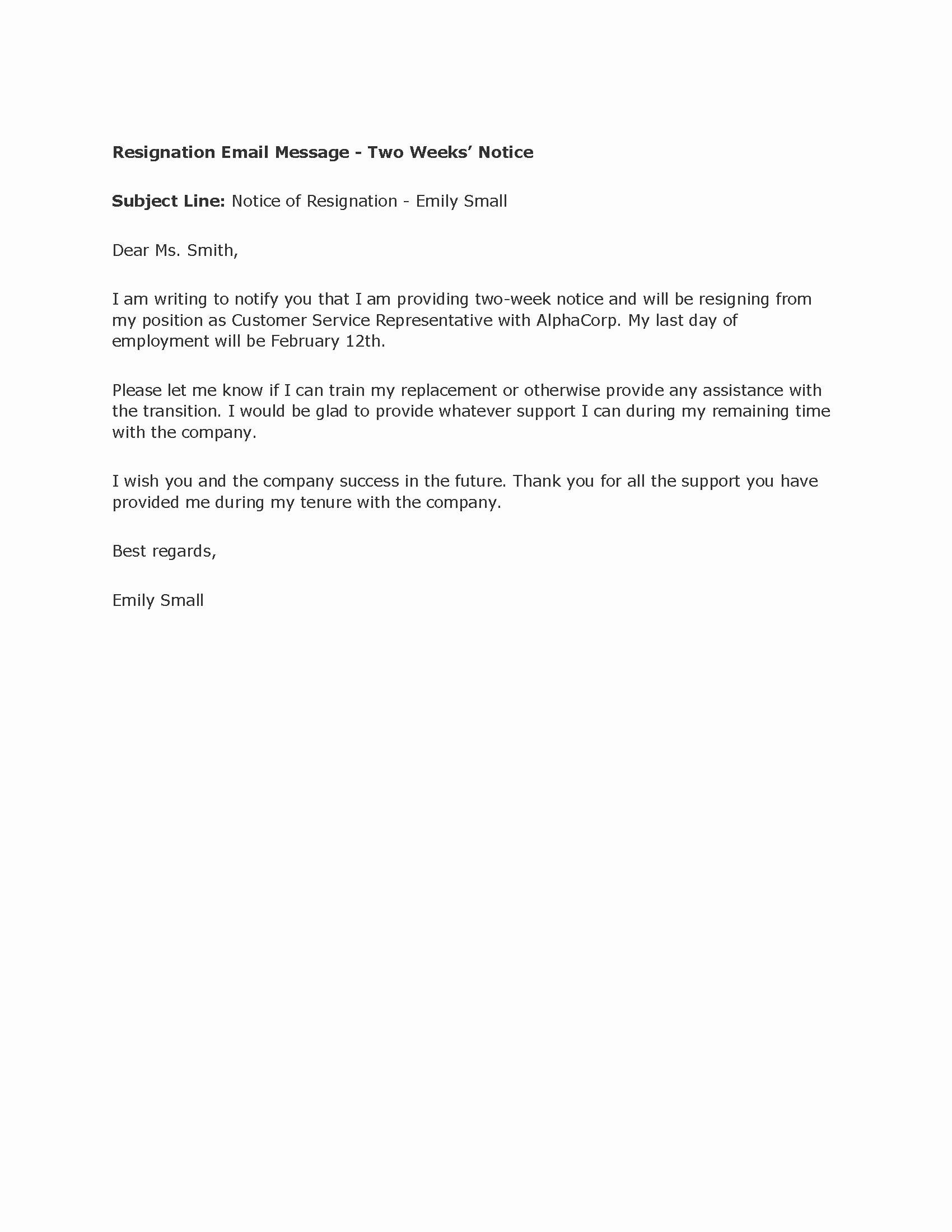 Sample Of Two Weeks Notice Letter Beautiful Professional