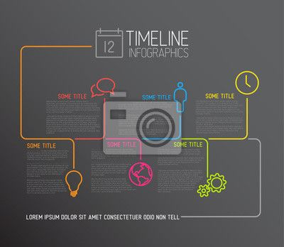Wall Mural Dark Infographic timeline report template with lines