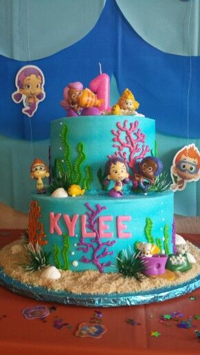 Bubble guppies cake for my baby girl's first birthday!