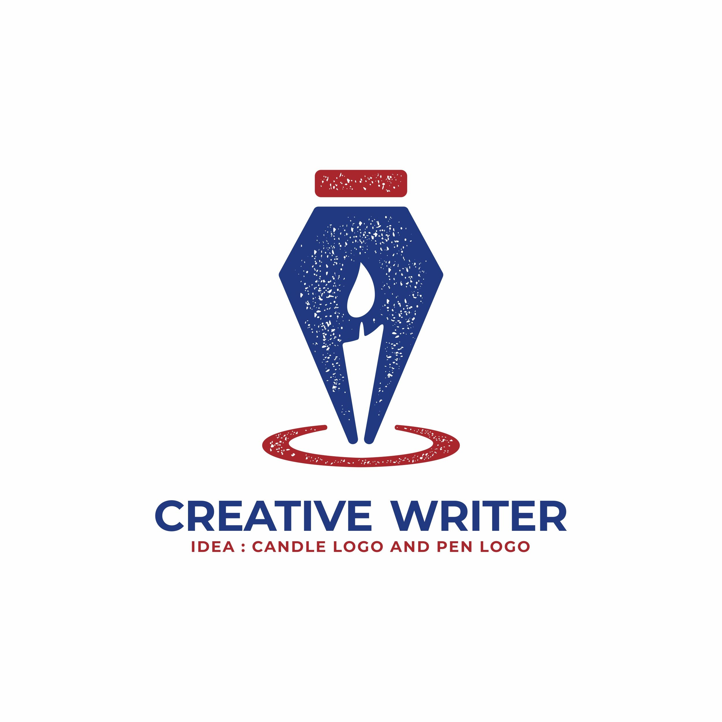 Creative writer logo. Pen and candle logo design can be