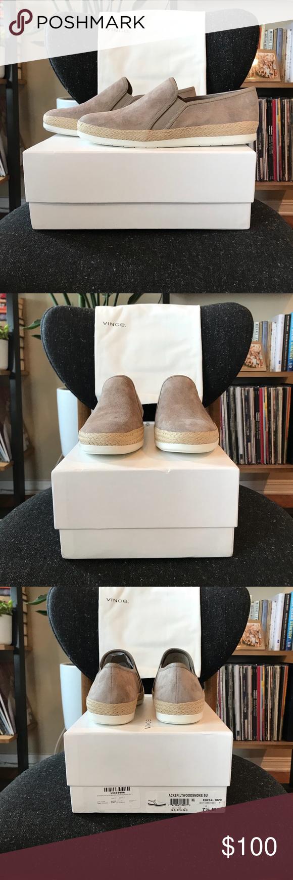 New In Box Acker Light Woodsmoke Slip-on Suede Sneaker Size 7.5 $225 Vince