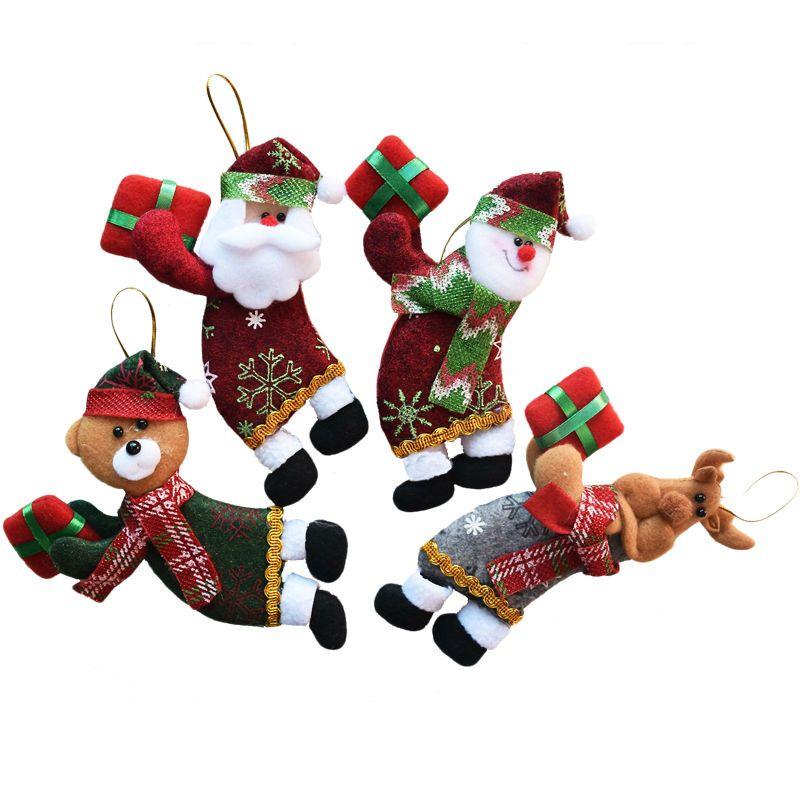 4pcs/lot Santa Dolls Gifts Pendant Sale Christmas Tree Decorations - christmas decorations sale