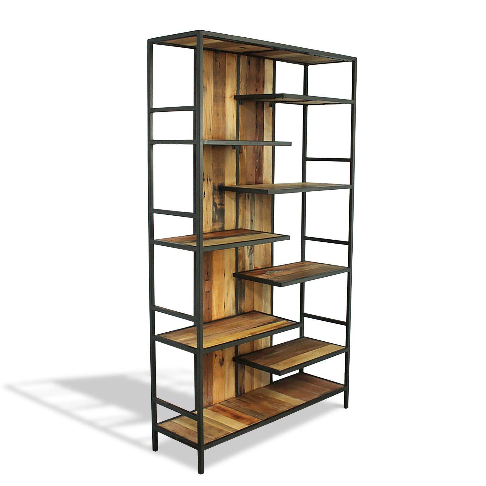 bibliothèque étagère design industriel en bois de bateau
