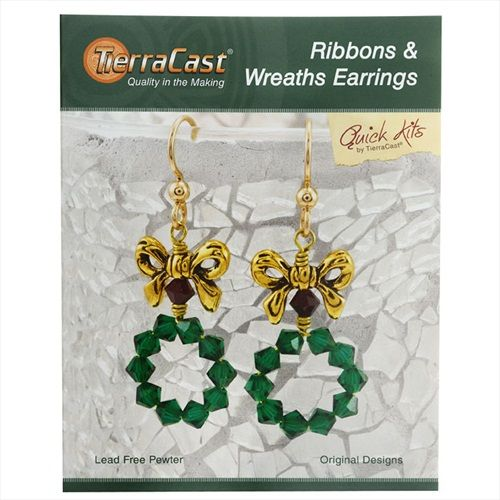 TIERRACAST KIT HOLIDAY RIBBONS WREATHS EARRINGS 2 INCHES 1 KIT GOLD GREEN SIAM from beadaholique.com