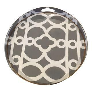 Contemporary Gray, White & Gold Hand-Painted Tray