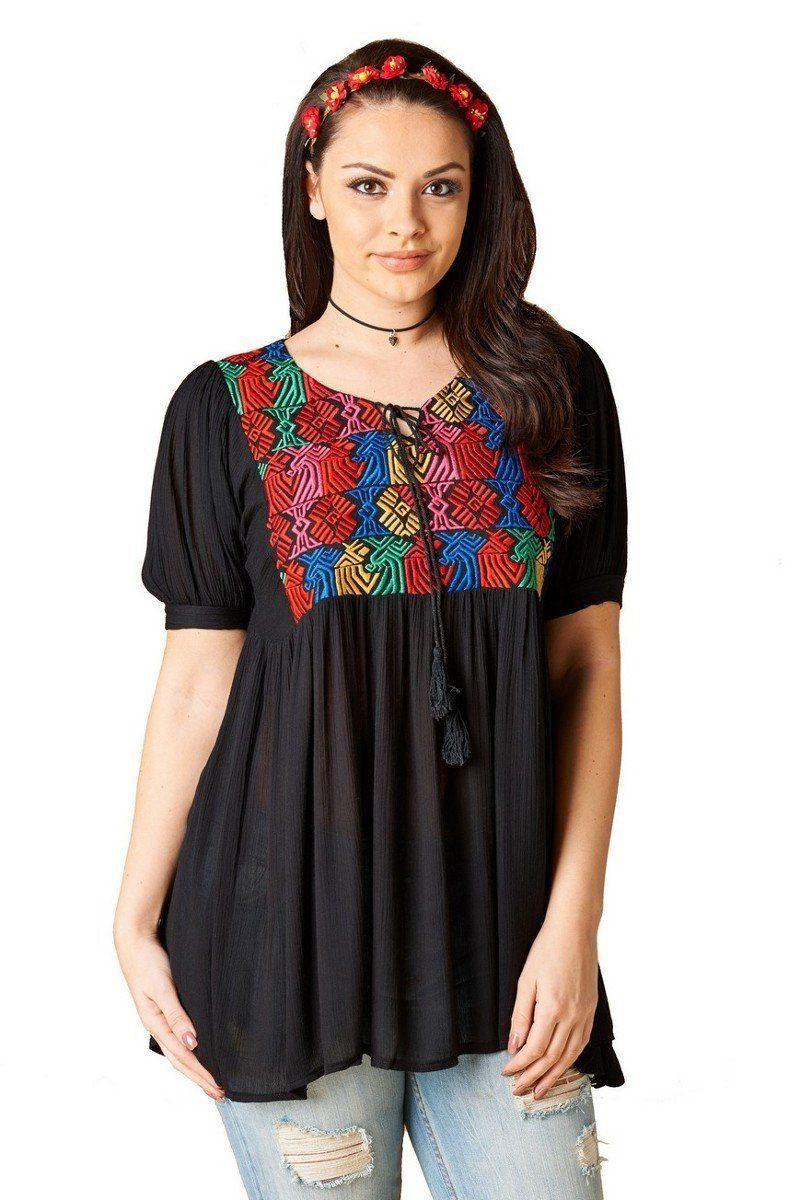fae9148a0f2 Plus Size Lyla Embroidered Boho Top   clothing   Boho tops, Tops ...