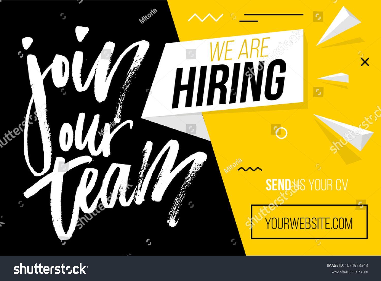 Hiring Recruitment Design Poster We Are Hiring Brush Lettering With Geometric Shapes Vector Illustration Open Vacancy Design Te Brosur Spanduk Desain Grafis