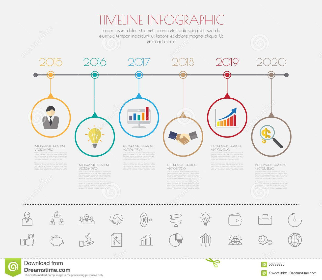 Color Step Design With Colour Icon Timeline TemplateGraphic Or