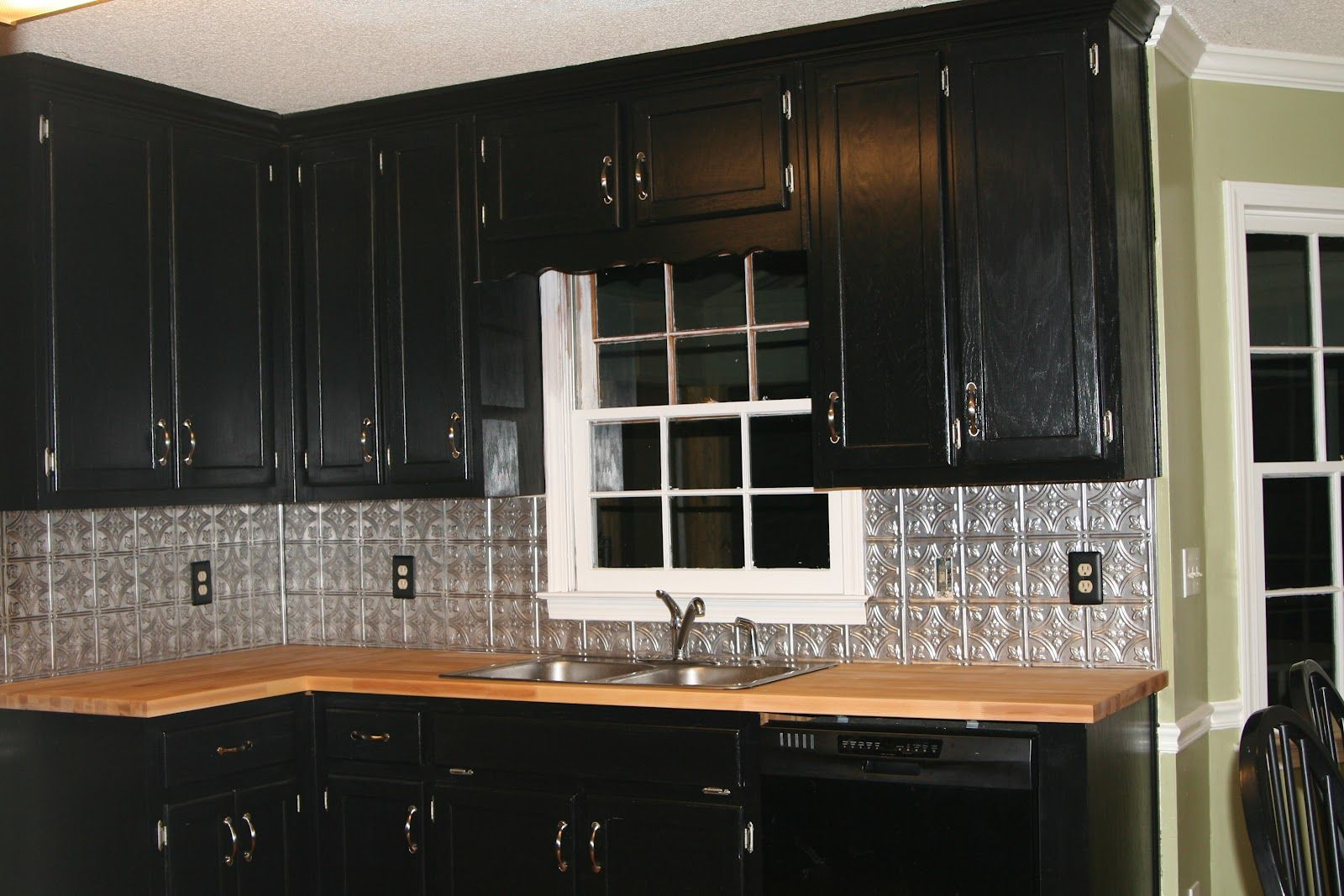 Easy Redo S For Our Kitchen Until We Can Do The Big Remodel Black Kitchen Cabinets Tin Backsplash Kitchen Contemporary Kitchen Backsplash