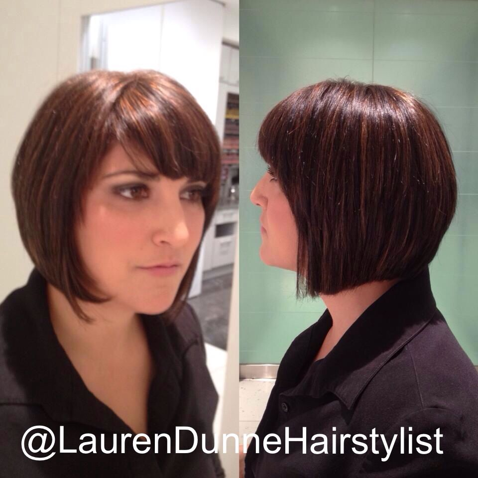 Dark Chocolate Brunette With Amber Highlights Stacked Bob Haircut Short Side Swept Fringe By Laurendunnehairstylist At The Secret Garden Spa In