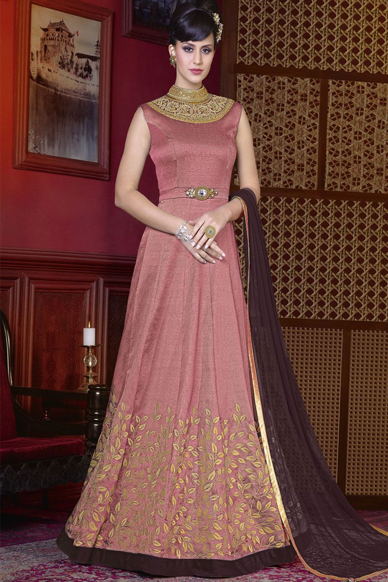 Pink color silk fabric heavy embroidered traditional models party