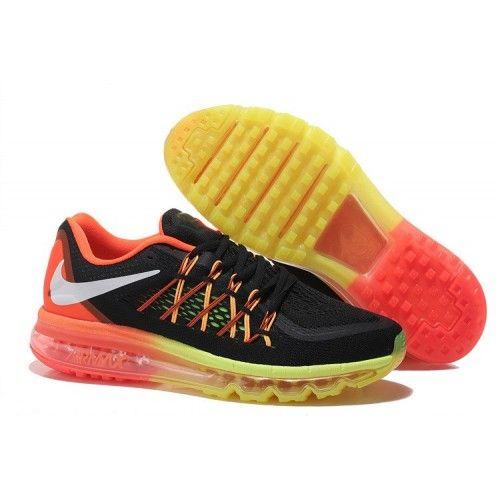 sale retailer 922e4 cd5f5 Billig Herre Dame Nike Air Max 2015 Svart Fluorescent Gul Oransje Sko Salg