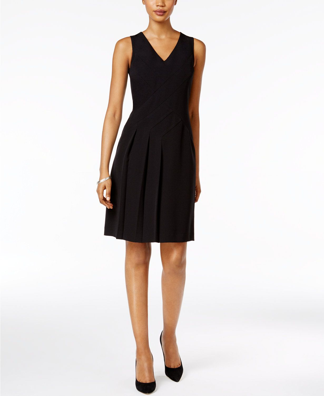 Kasper Pleated Fit & Flare Dress | macys.com | 3genrehaus ...
