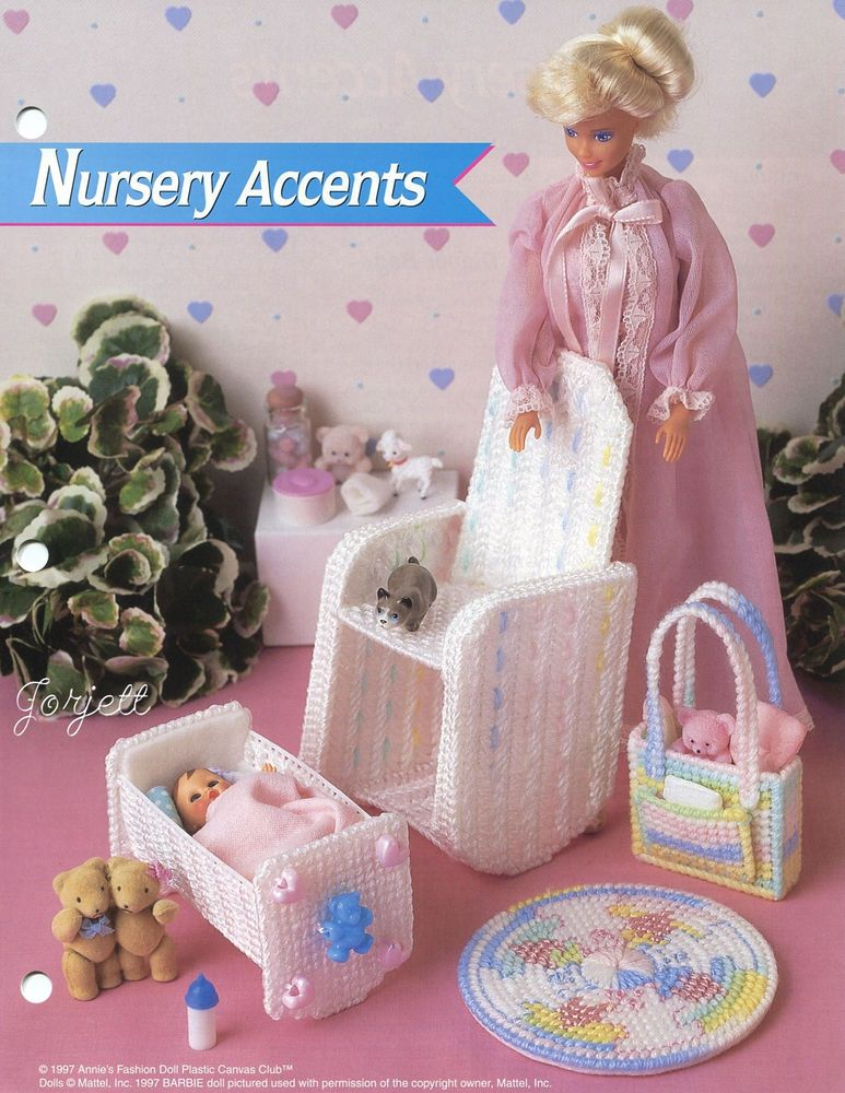 Toy Box ~ fits Barbie dolls Annie/'s plastic canvas pattern leaflet