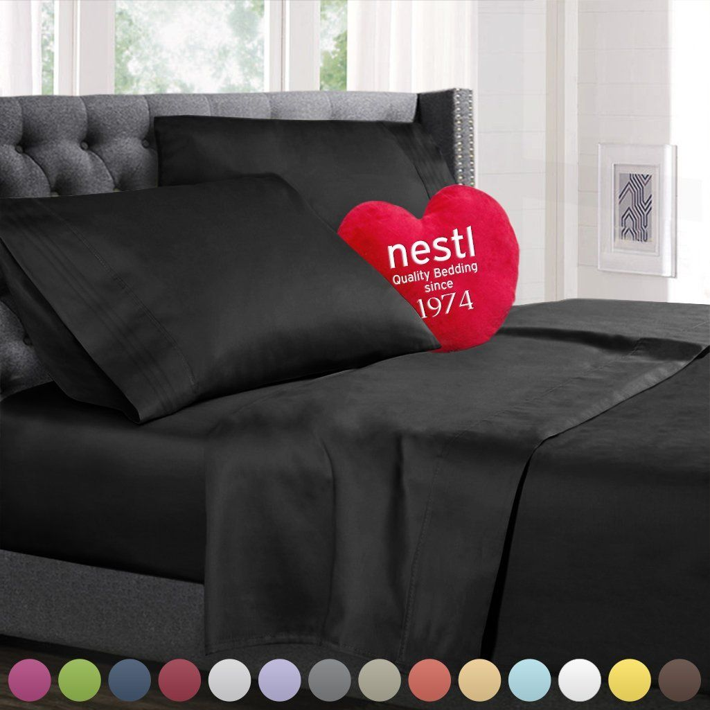 Nestl Bedding Queen Bed Sheet Bedding Set With Deep Pocket Fitted Sheet    Black
