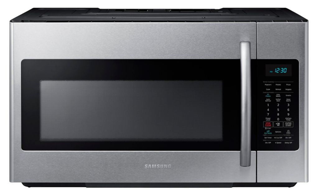 1 8 Cu Ft Over The Range Microwave Hood Combo With Ceramic Cavity In Stainless Steel Stainless Steel Microwave Samsung Microwave Range Microwave
