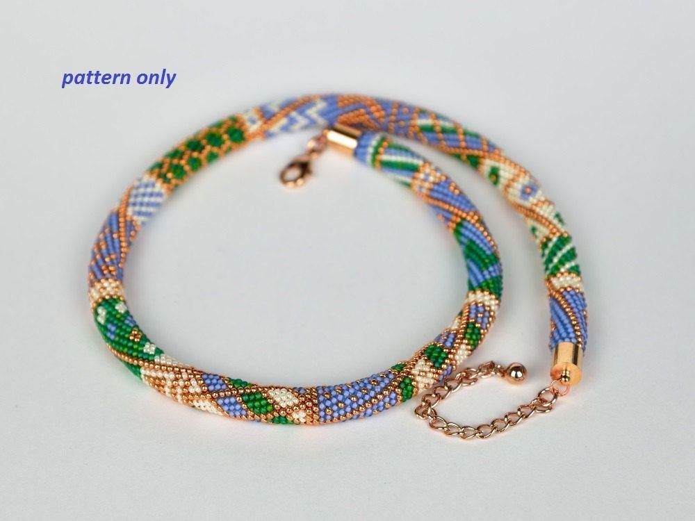 Bead Crochet Rope Pattern - green meets blue - tutorial | Cuentas y ...