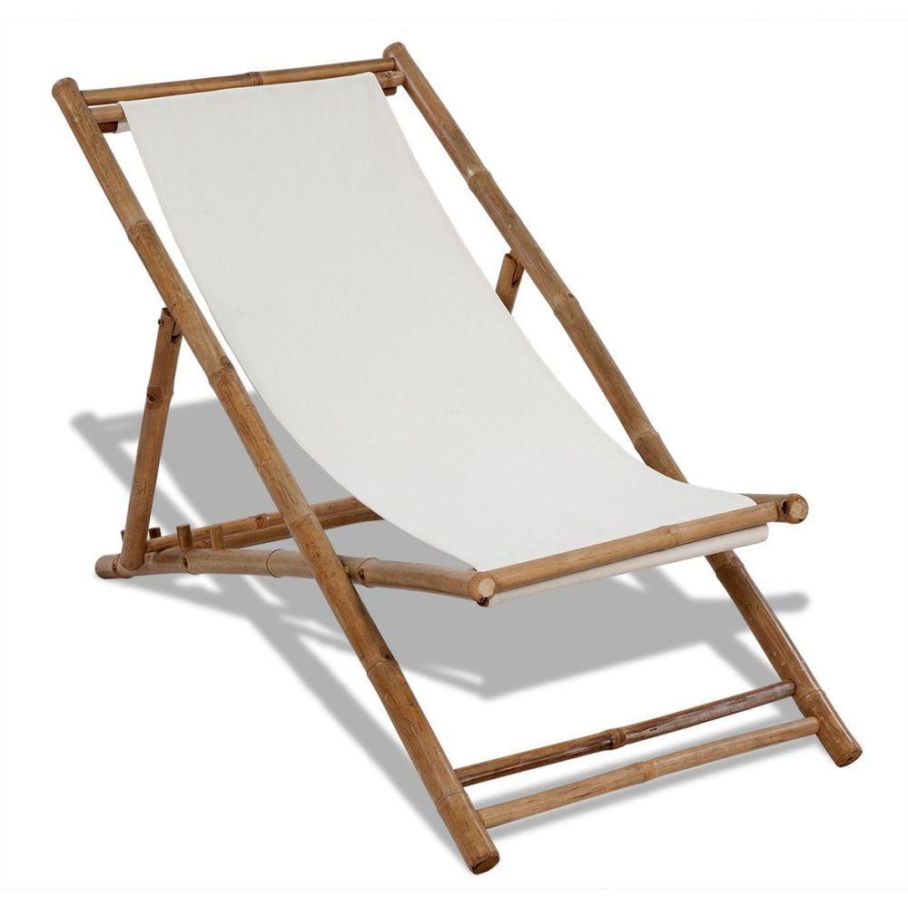 Outdoor deck chair garden bamboo wood white canvas seat for Garden decking furniture