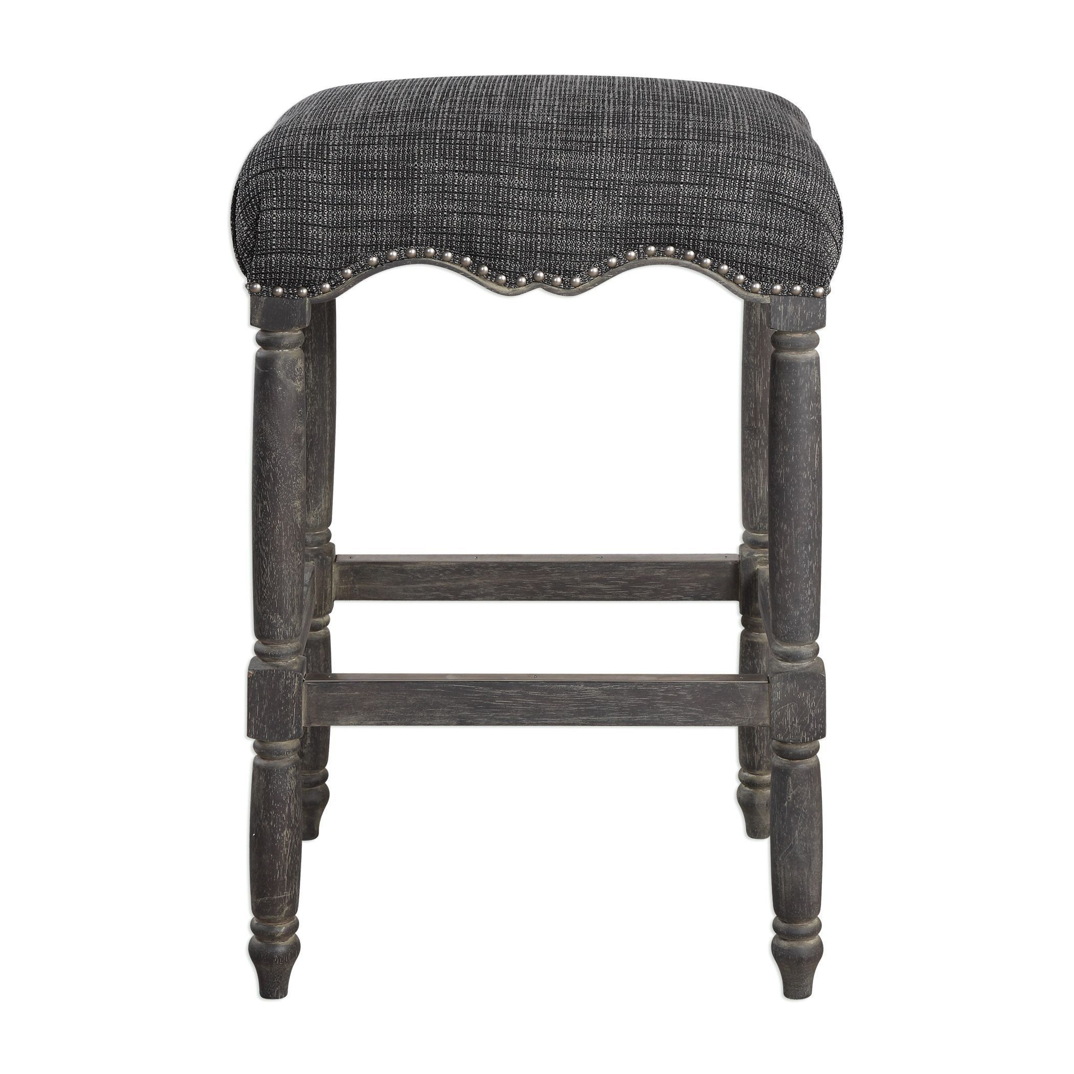 Kitchen Aiden Blue Gray Backless Bar Stool By Uttermost Grey Bar Stools Backless Bar Stools Wood Bar Stools