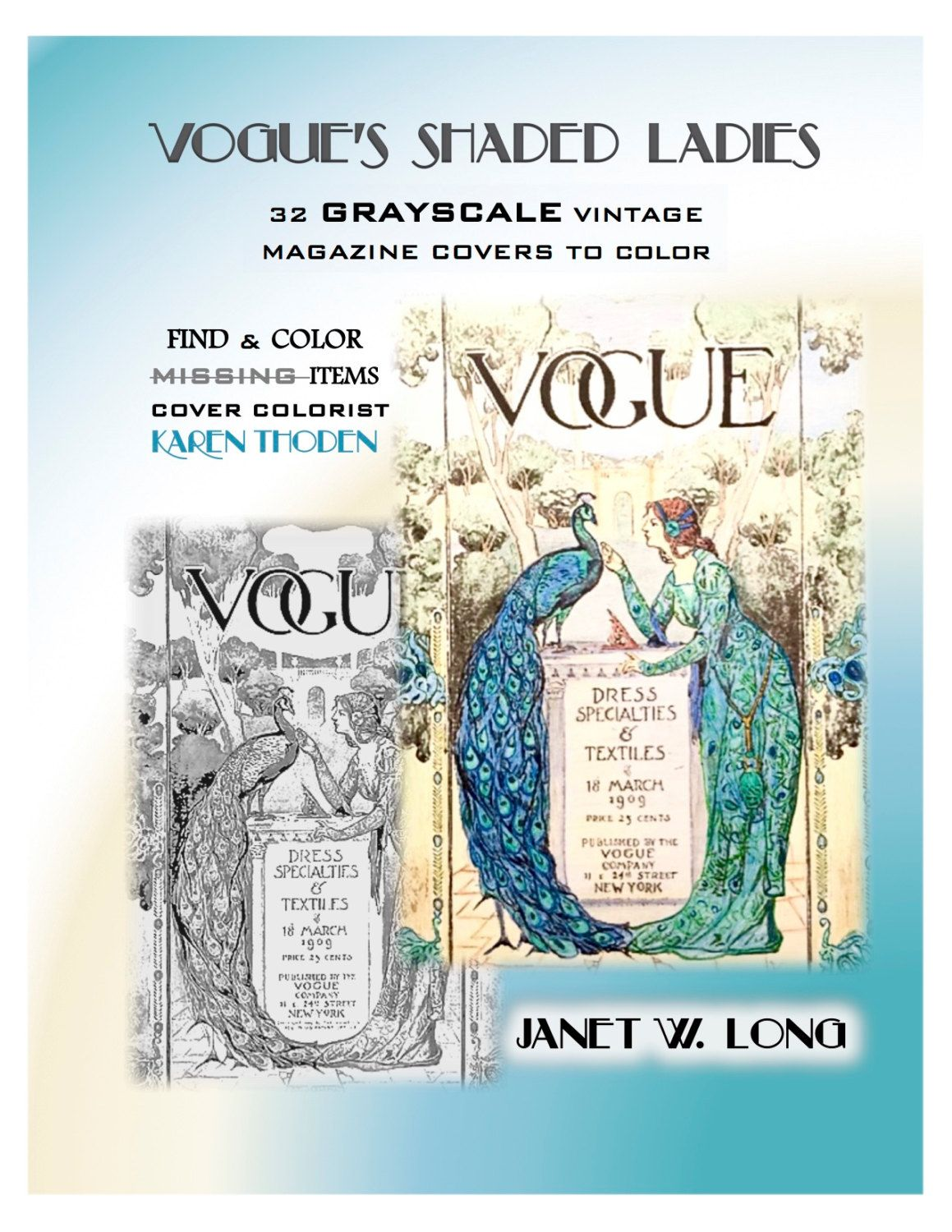 DIGITAL DOWNLOAD Vogue Grayscale Vintage Adult Coloring Book VOGUEs Shaded Ladies Magazine Covers 1893