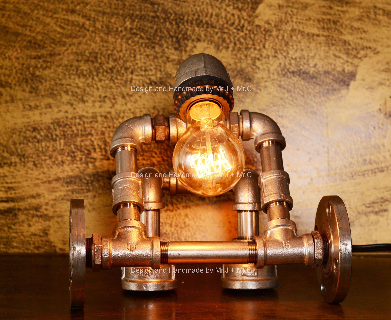 Dise o iluminaci n industrial steampunk l mpara mesa for Diseno de apartamentos industriales