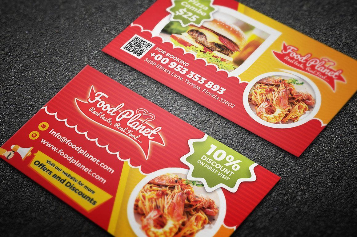 Food And Restaurant Business Card Ad Ad Free Fonts Intended For Resta In 2020 Restaurant Business Cards Free Business Card Templates Food And Restaurant Business
