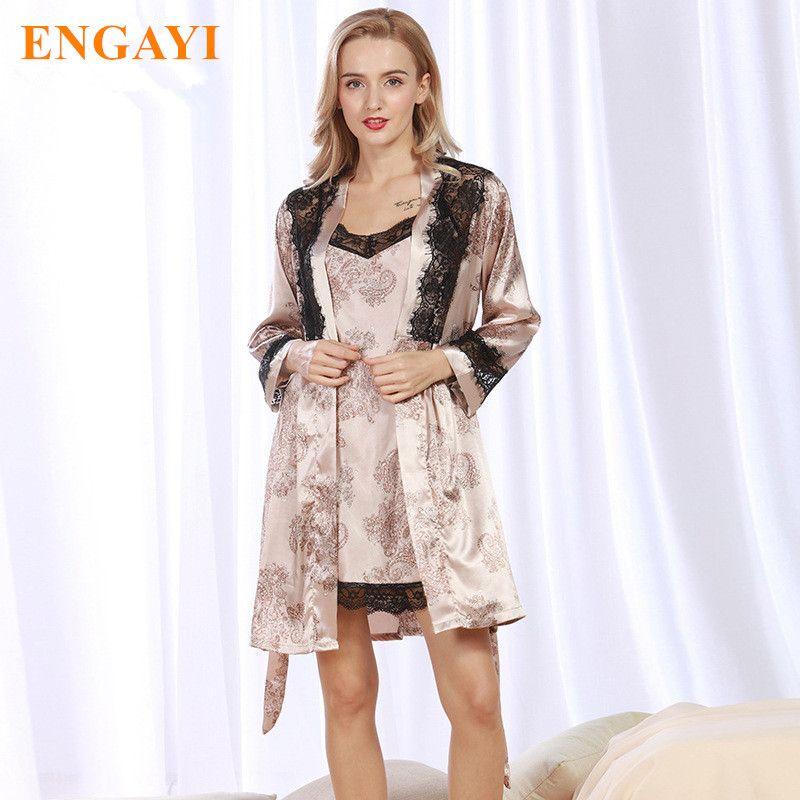 25b9539f87 2017 New Women Night Dress 2 Pcs Robes Bathrobes Longue Femme Robe ...