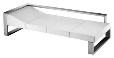 Kama Sofa Bed White Vinyl / Silver Structure By Ego