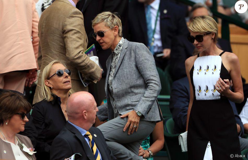Martina Navaratalova, Ellen DeGeneres et Portia de Rossi à la finale dames du tournoi de Wimbledon le 9 juillet 2016. Elle oppose Serena Williams à Angelique Kerber.