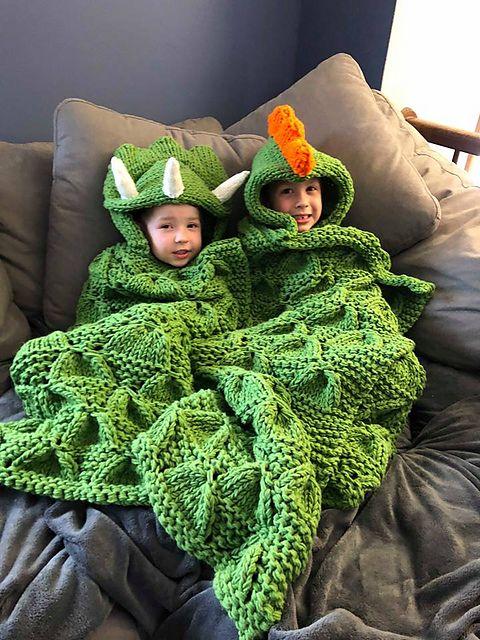 Hooded Dinosaur Blanket pattern by Krystle's Krazy Knits #crochetdinosaurpatterns
