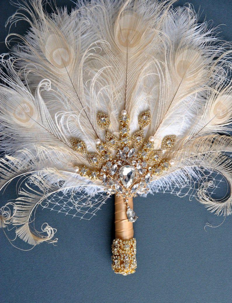Alternative Bridal bouquet Peacock Wedding bouquet Pink Bridal bouquet Peacock feather Bridal bouquet Gatsby Brooch bouquet