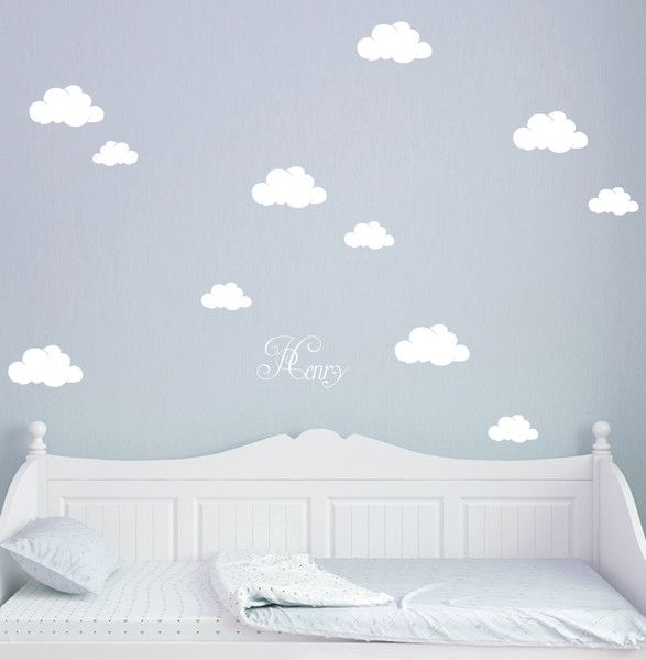 Wandtattoo wolken wolke w lkchen mit namen m1682 von deinewandkunst auf babykram for Wandtattoo babyzimmer junge