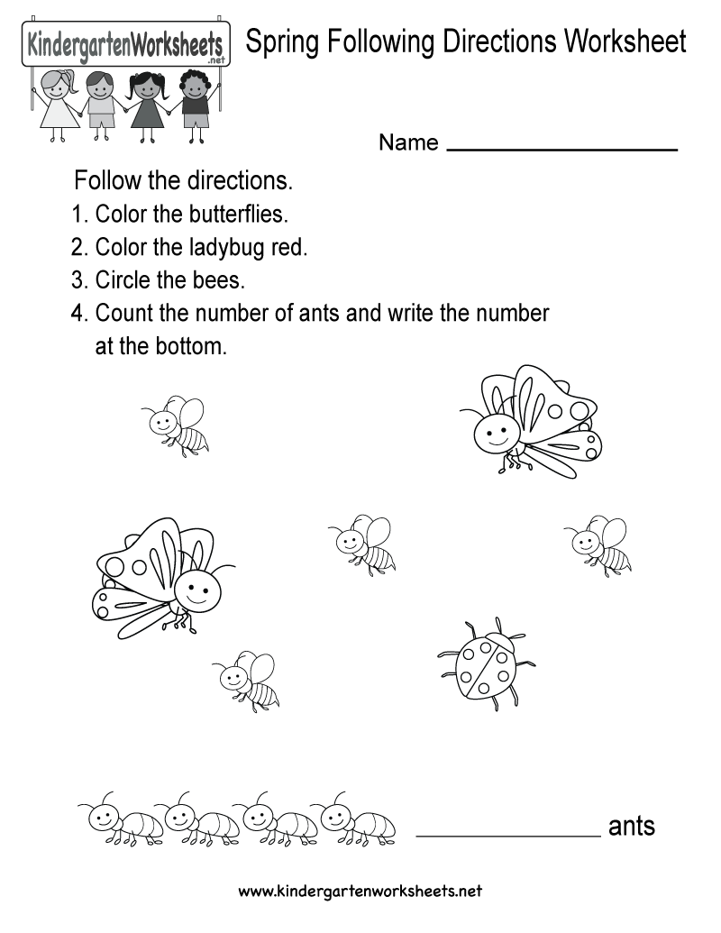 worksheet Spring Worksheet this is a free spring themed following directions worksheet for kindergarten you can download the
