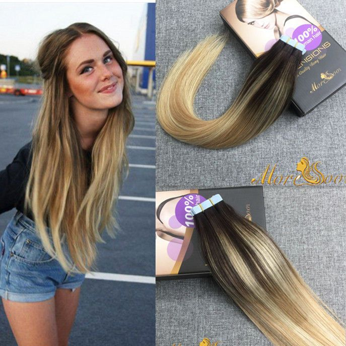 20pc Ombre Balayage Tape In Human Hair Skin Weft 100 Real Human Hair Extensions Moresoo Hairextensio Echthaar Extensions Haare Frisuren Mit Haarverlangerung