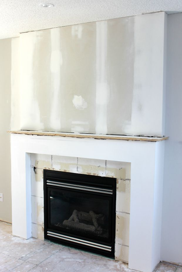 Fireplace Makeover | Drywall, White fireplace and Living rooms