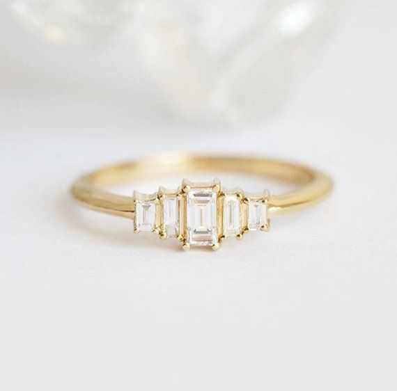 Photo of Art Deco Diamond Engagement Ring, Artdeco Baguette Diamond Ring, Five Stone Engagement Ring