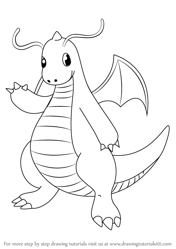 Learn How To Draw Dragonite From Pokemon Pokemon Step By Step