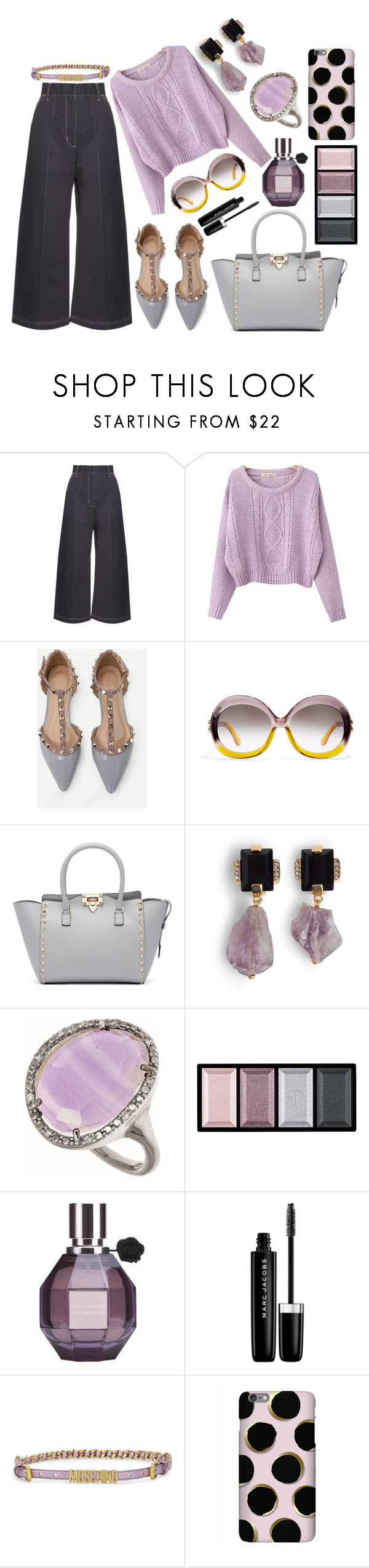 """Crushing on lavender"" by pulseofthematter ❤ liked on Polyvore featuring Wales Bonner, Chicnova Fashion, Valentino, Marni, Phillip Gavriel, Clé de Peau Beauté, Viktor & Rolf, Marc Jacobs and Moschino"
