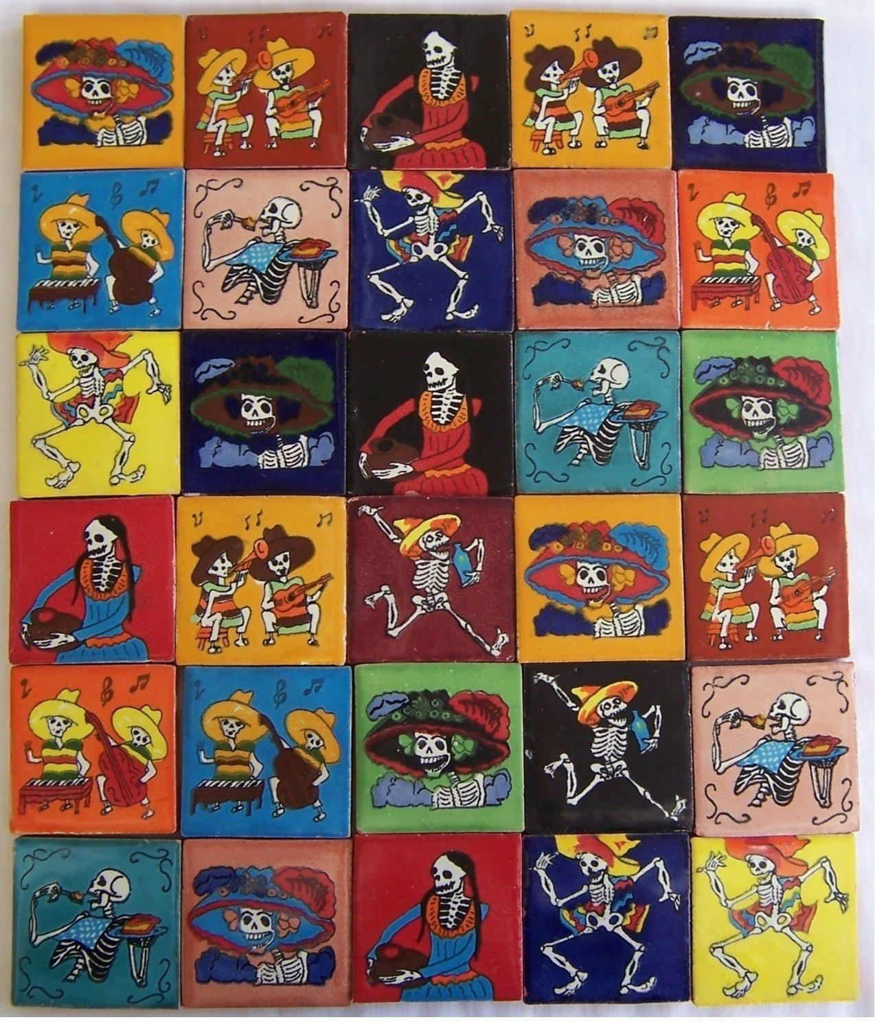 30 Hand Painted Day of the Dead Mexican Talavera T