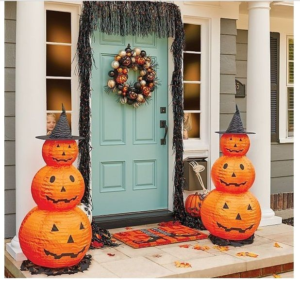 Halloween Pumpkin Decorations 2 Lighted Yard Porch Stack