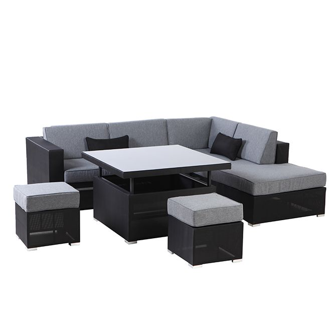 Brilliant Patio Sectional Seating Set Soho Grey Black 5 7 Places Theyellowbook Wood Chair Design Ideas Theyellowbookinfo