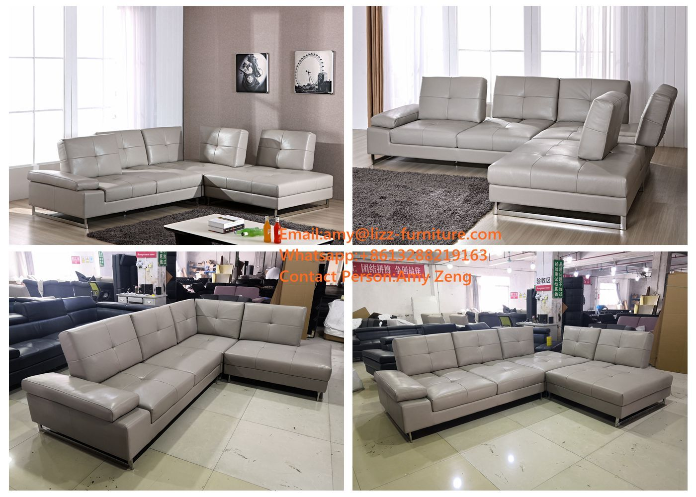 Genuine Leather Sectional Canada Lizz Furniture New Design Simple Canada Style Corner Sofa With