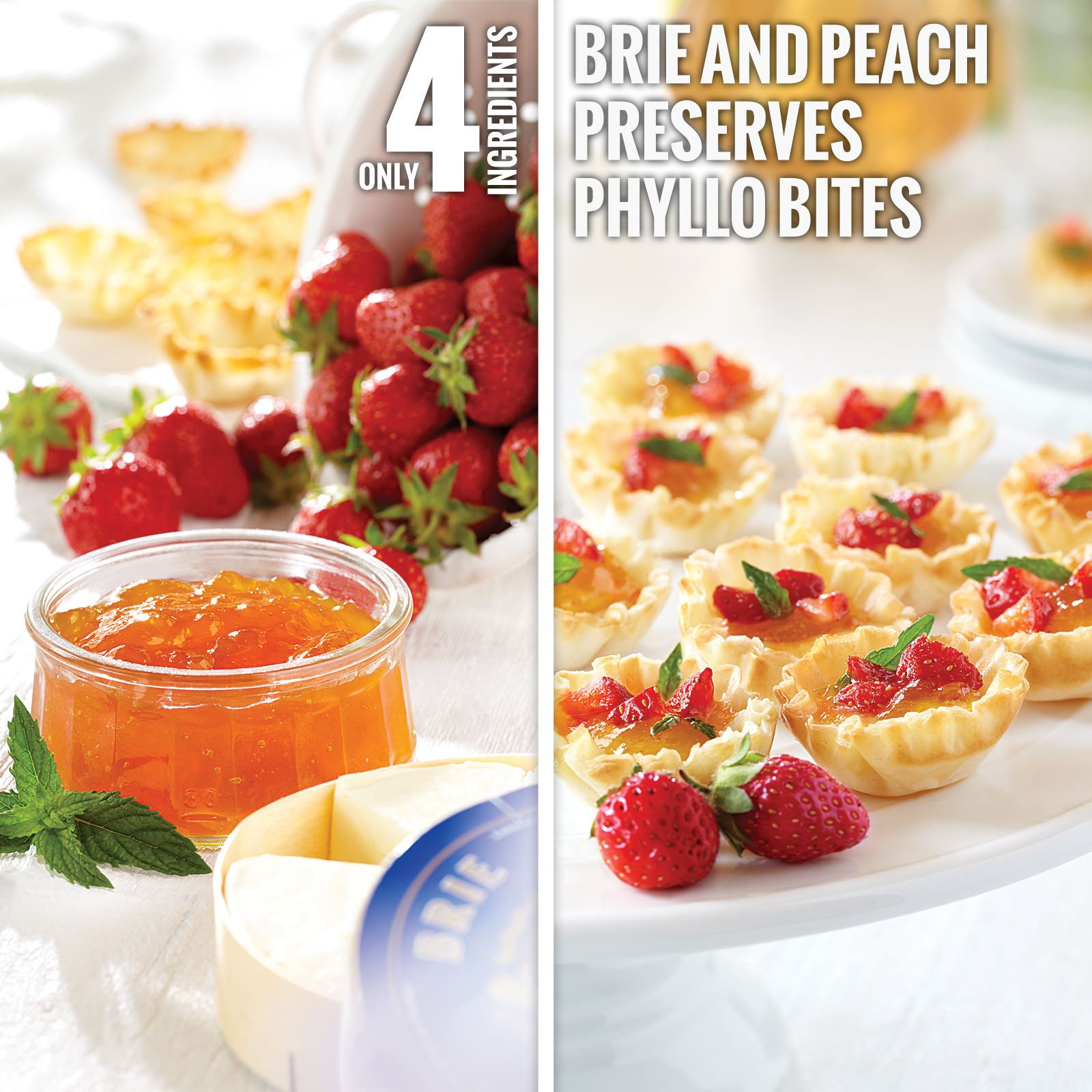 Brie and Peach Preserves Phyllo Bites from Smucker's