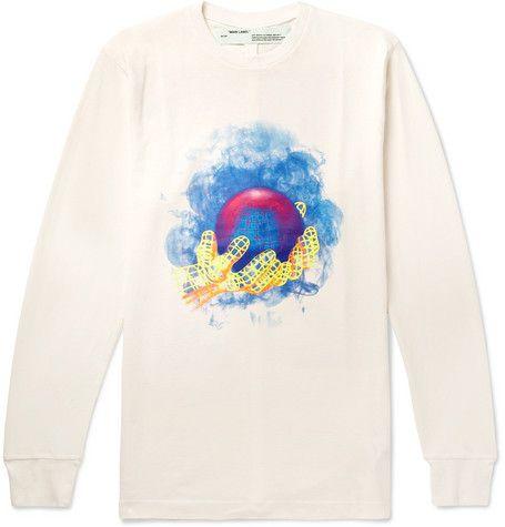 7a5f9a99e40 OFF-WHITE Slim-Fit Logo-Print Cotton-Jersey T-Shirt.  off-white  cloth