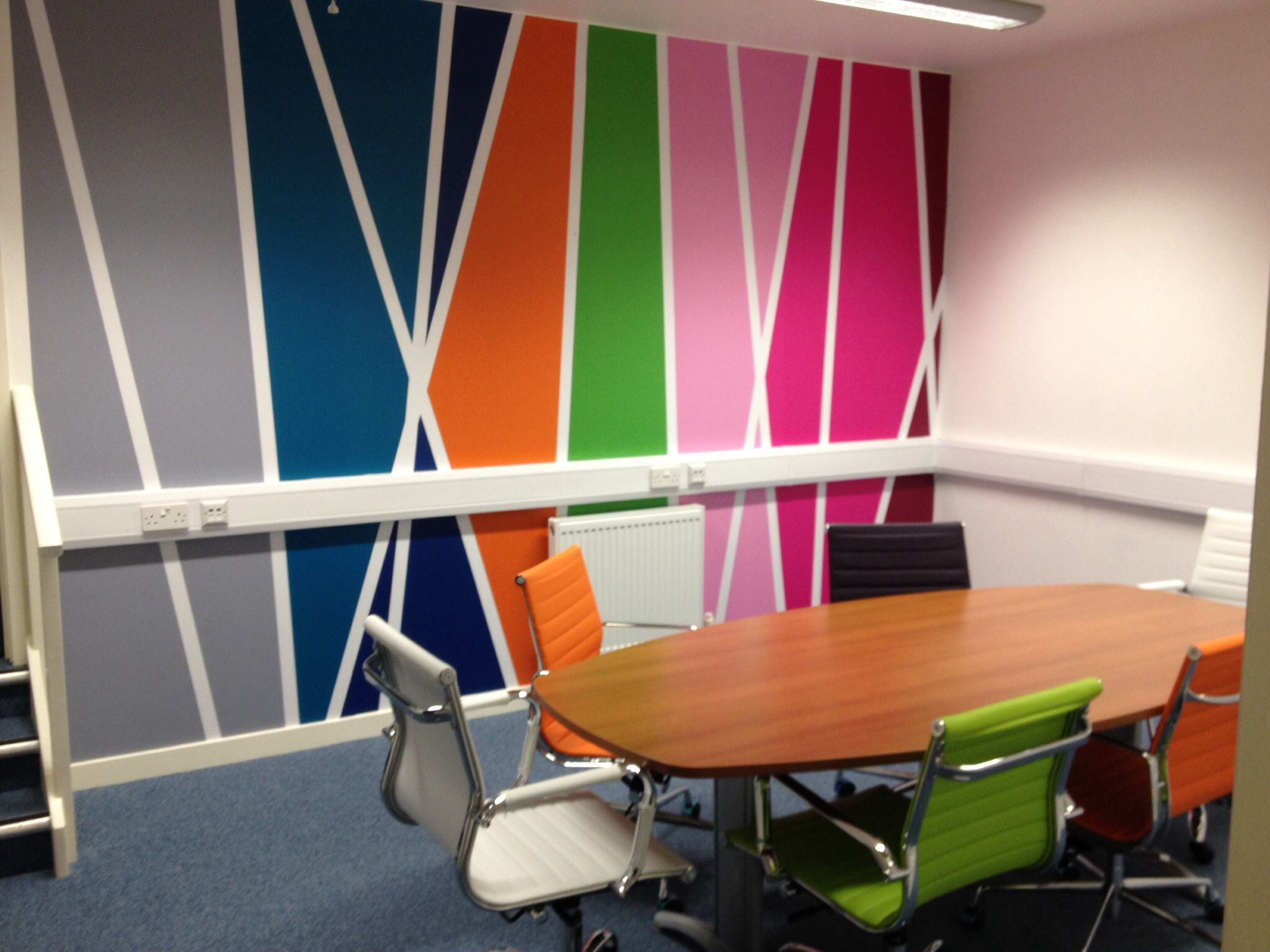 Colourful Meeting room wall graphics for office branding