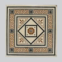 Tiles 1870-80  made by Mintons, Ltd., Stoke-on-Trent, England, 1793 - present Ebonized cherry, nickel-plated cast iron and ceramic tiles. Tiles Surrounding a Mantel Assembled in United States,