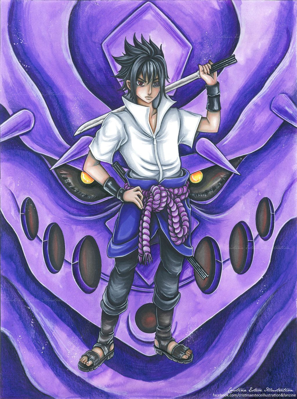 Uchicha Sasuke Rinnegan Mode Fanart Naruto By Crisangy88 On