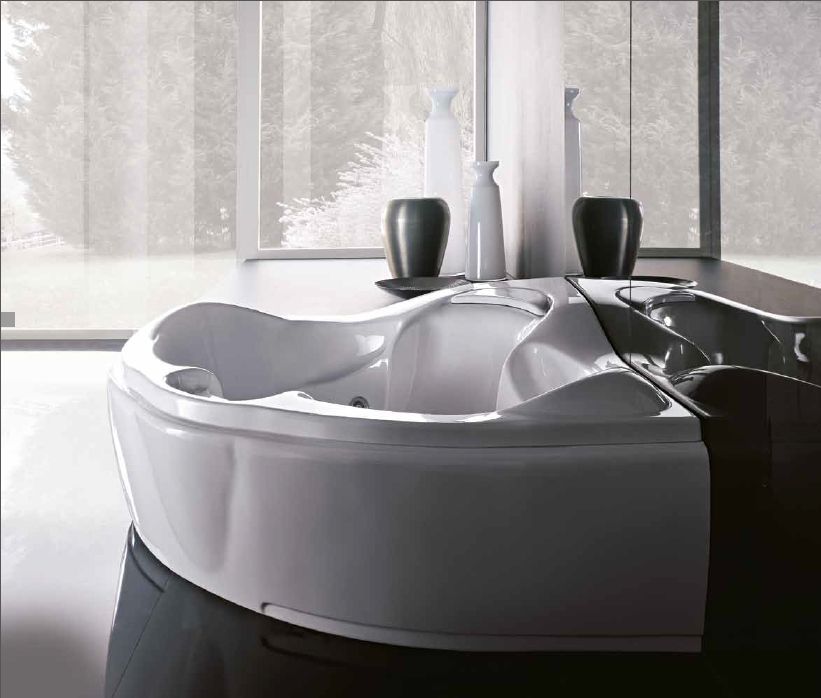 Treesse's modern shape large corner bathtub / Haiti Collection